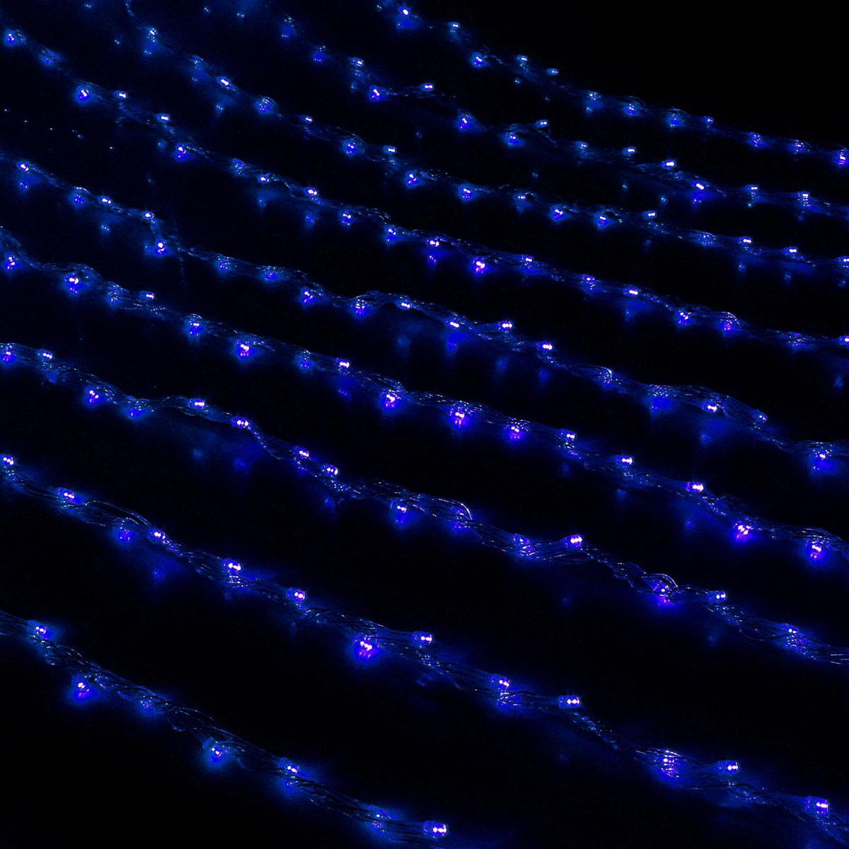 Гирлянда светодиодная Luazon Дождь, цвет: синий, 300 ламп, 8 режимов, 220 V, 1,5 х 1 мBH0409_ЁлочкиСветодиодные гирлянды и ленты — это отличный вариант для новогоднего оформления интерьера или фасада. С их помощью помещение любого размера можно превратить в праздничный зал, а внешние элементы зданий, украшенные ими, мгновенно станут напоминать очертания сказочного дворца. Такие украшения создают ауру предвкушения чуда. Деревья, фасады, витрины, окна и арки будто специально созданы, чтобы вы украсили их светящимися нитями.