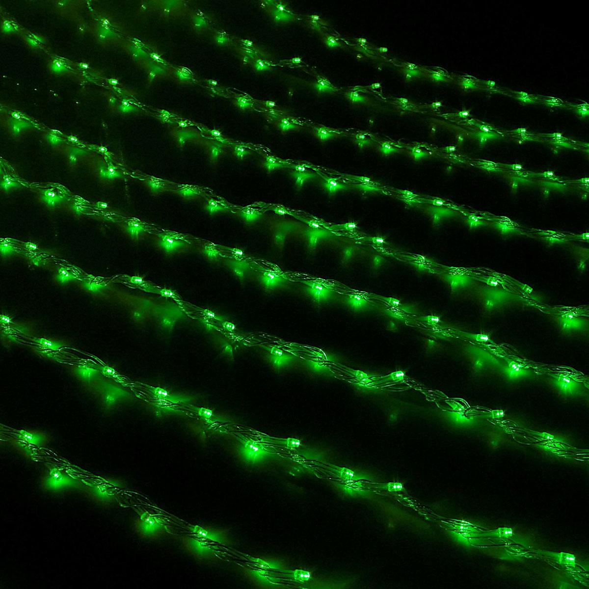 Гирлянда светодиодная Luazon Дождь, цвет: зеленый, 300 ламп, 8 режимов, 220 V, 1,5 х 1 м671636Светодиодные гирлянды и ленты — это отличный вариант для новогоднего оформления интерьера или фасада. С их помощью помещение любого размера можно превратить в праздничный зал, а внешние элементы зданий, украшенные ими, мгновенно станут напоминать очертания сказочного дворца. Такие украшения создают ауру предвкушения чуда. Деревья, фасады, витрины, окна и арки будто специально созданы, чтобы вы украсили их светящимися нитями.