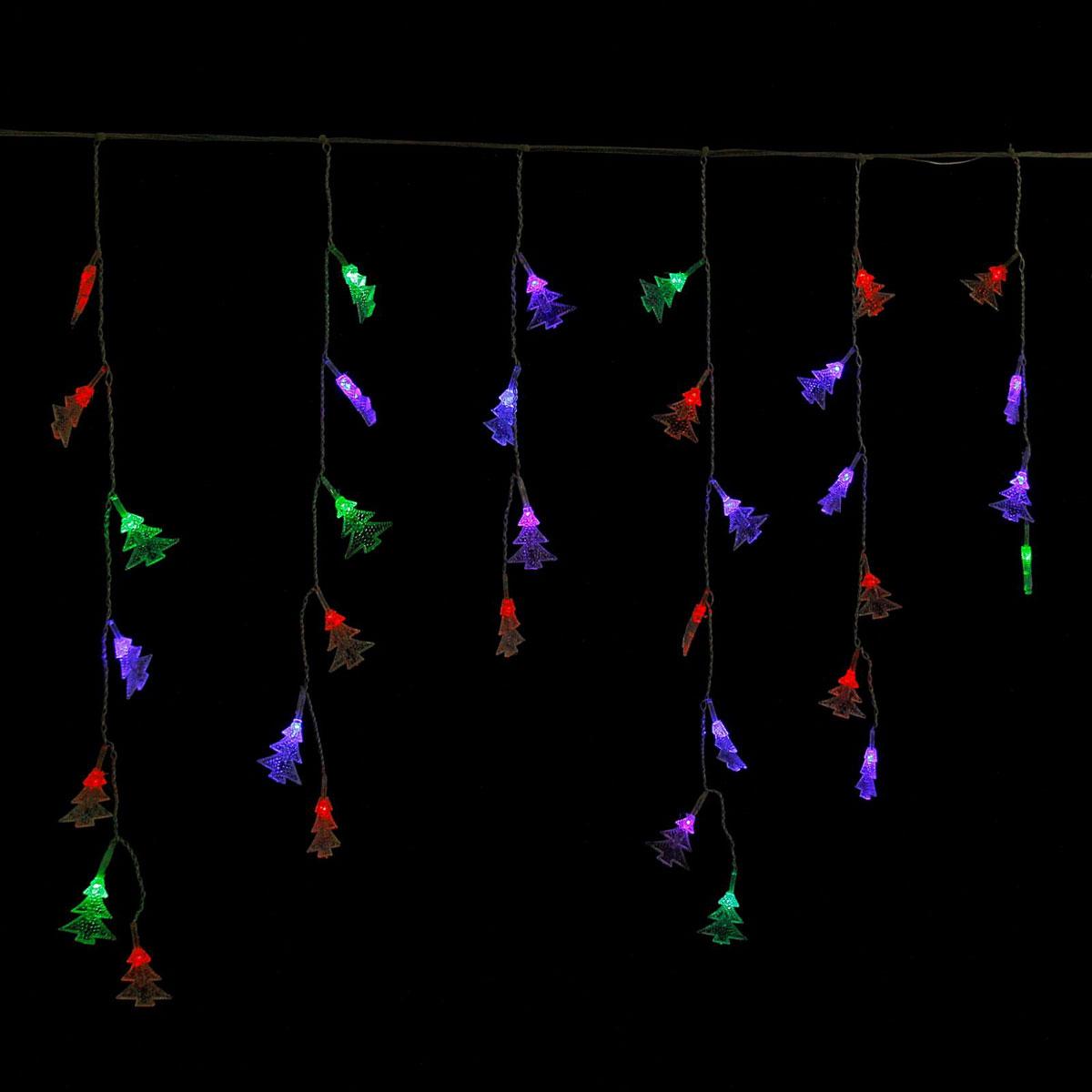 Гирлянда светодиодная Luazon Бахрома. Елки, 100 ламп, 220 V, цвет: мультиколор, 2,8 х 0,6 м. 671644671590Светодиодные гирлянды, ленты и т.д — это отличный вариант для новогоднего оформления интерьера или фасада. С их помощью помещение любого размера можно превратить в праздничный зал, а внешние элементы зданий, украшенные ими, мгновенно станут напоминать очертания сказочного дворца. Такие украшения создают ауру предвкушения чуда. Деревья, фасады, витрины, окна и арки будто специально созданы, чтобы вы украсили их светящимися нитями.