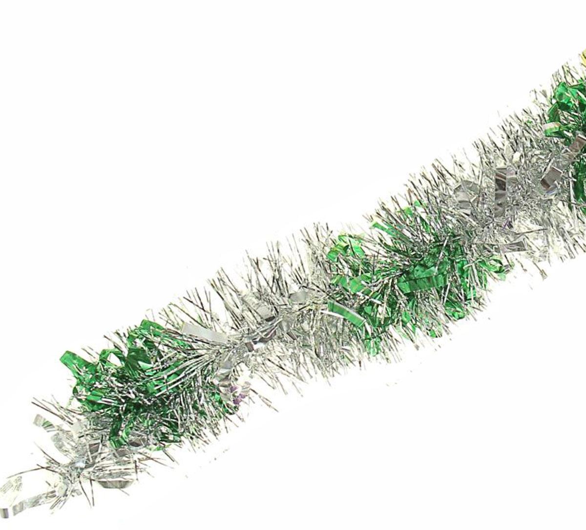 Мишура новогодняя Sima-land, цвет: серебристый, зеленый, диаметр 8 см, длина 200 см. 702578 мишура новогодняя sima land цвет серебристый красный диаметр 4 см длина 200 см 702624