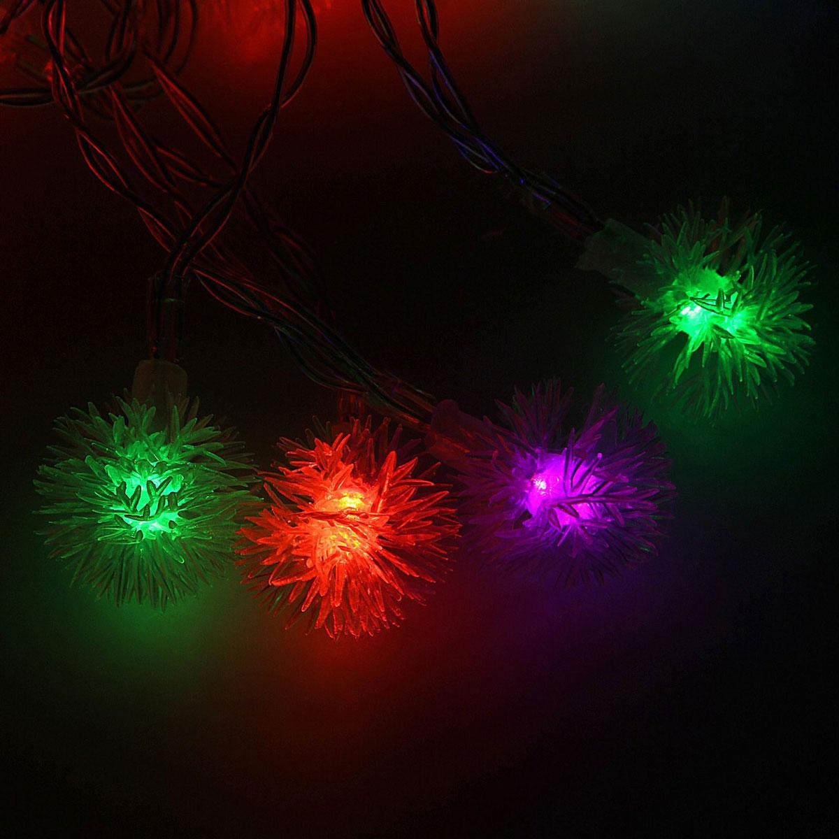 Гирлянда светодиодная Luazon Метраж. Ежики, 20 ламп, 3,6 V, длина 3 м806827Светодиодные гирлянды и ленты — это отличный вариант для новогоднего оформления интерьера или фасада. С их помощью помещение любого размера можно превратить в праздничный зал, а внешние элементы зданий, украшенные ими, мгновенно станут напоминать очертания сказочного дворца. Такие украшения создают ауру предвкушения чуда. Деревья, фасады, витрины, окна и арки будто специально созданы, чтобы вы украсили их светящимися нитями.