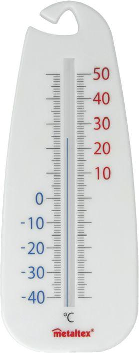 Термометр Metaltex, внутренний/наружный29.80.02Термометр Metaltex внутренний/наружный с подвесным крючком. Экологически чистый, не содержит ртуть. Термометр с призматическим стеклом применяется для измерения температуры воздуха на улице и в помещении, термометр оснащен широкой, подробной и наглядной шкалой. Изделие имеет широкий диапазон: -40...+50°C, размер: 14 см, материал: полистирол. Термометр имеет подвесной крючок и вас есть возможность легко повесить изделие в удобном для вас месте.