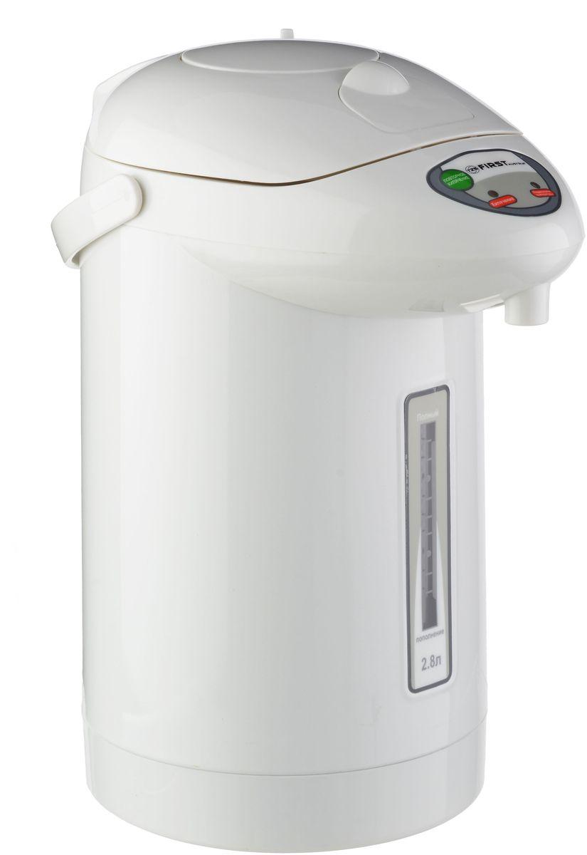 First FA-5448-3, White термопотFA-5448-3 WhiteТермопот FIRST 5448-3 White,мощность 900 Вт, объем 2.8 л, механическая помпа, повтор кипячения, поддержание температуры 75?-90?, подача воды ручной помпой, корпус из термостойкого пластика, вращение корпуса 360°. Шкала уровня воды, закрытая спираль, подача горячей воды через 5 сек, производительность 500 мл/мин.