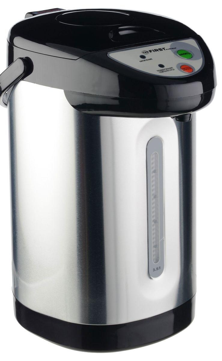 First FA-5448-5 Stell, Gray Metallic термопотFA-5448-5 StellТермопот FIRST 5448-5 Stell, мощность 900 Вт, объем 3,5 л, 3 типа подачи воды, поддержка 75?-90?,3 режима подачи воды: насосом, электропомпой, нажатием на клапан, функция повторного кипячения, корпус из нержавеющей стали, вращение корпуса 360°, закрытая спираль, шкала уровня воды.