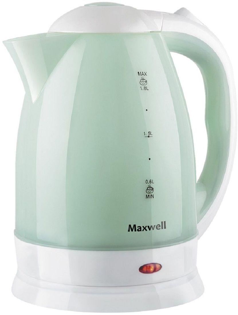 Maxwell MW-1064(W), Light Green электрический чайникMW-1064(W)Электрический чайник Maxwell MW-1064(W) прост в управлении и долговечен в использовании. Изготовлен из высококачественных материалов. Прозрачное окошко позволяет определить уровень воды. Мощность 1850 Вт вскипятит 1,8 литра воды в считанные минуты. Беспроводное соединение позволяет вращать чайник на подставке на 360°. Для обеспечения безопасности при повседневном использовании предусмотрены функция автовыключения, а также защита от включения при отсутствии воды.