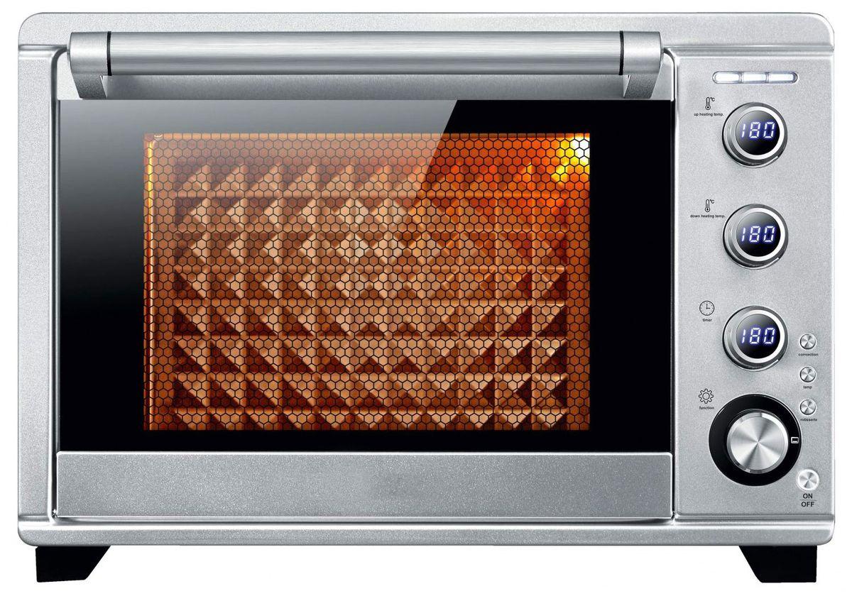 Gemlux GL-OR-1845, Silver мини-печьGL-OR-1845Электрическая конвекционная печь Gemlux GL-OR-1845 с объемом рабочей камеры 45 л может быть с успехом использована как полноценная замена электрической духовке и на городской кухне, и в загородном доме. Оборудование имеет прочный и гигиеничный корпус из нержавеющей стали и оригинальное электронное управление. Вращением трех ручек вы можете отрегулировать температуру верхнего и нижнего нагревательных элементов (30-230°С) и время приготовления (0-120 минут). Заданные значения параметров выводятся соответствующие ЖК-дисплеи, которые размещены на тех же ручках. Выглядит это весьма эффектно и необычно.Вы можете выбрать один из 8 режимов приготовления:— верхний и нижний нагрев (температура верхнего и нижнего ТЭНов регулируется от 30 до 230°С, параметры по умолчанию: температура верхнего и нижнего ТЭНов – 180°С, время – 30 минут),— верхний нагрев (температура верхнего ТЭНа регулируется от 30 до 180°С, параметры по умолчанию: температура – 150°С, время приготовления – 30 минут),— нижний нагрев (температура нижнего ТЭНа регулируется от 30 до 230°С, параметры по умолчанию: температура – 180°С, время приготовления – 30 минут),— ферментация (температура нижнего ТЭНа регулируется от 30 до 45°С, параметры по умолчанию: температура – 35°С, время – 30 минут),приготовление йогурта (температура нижнего ТЭНа регулируется от 42 до 45°C, время – от 6 до 12 часов, параметры по умолчанию: температура – 42°С, время – 8 часов),— верхний гриль (температура верхнего ТЭНа регулируется от 50 до 180°С, параметры по умолчанию: температура – 160°С, время – 30 минут),— верхний и нижний гриль (температура верхнего и нижнего ТЭНов регулируется от 50 до 230°С, параметры по умолчанию: температура верхнего и нижнего ТЭНов – 180°С, время – 30 минут),— программа пользователя (верхний и нижний нагрев регулируется в пределах от 30 до 230°С, параметры по умолчанию: температура верхнего и нижнего ТЭНов – 180°С, время – 30 минут. Разница температур верхнего и нижнег