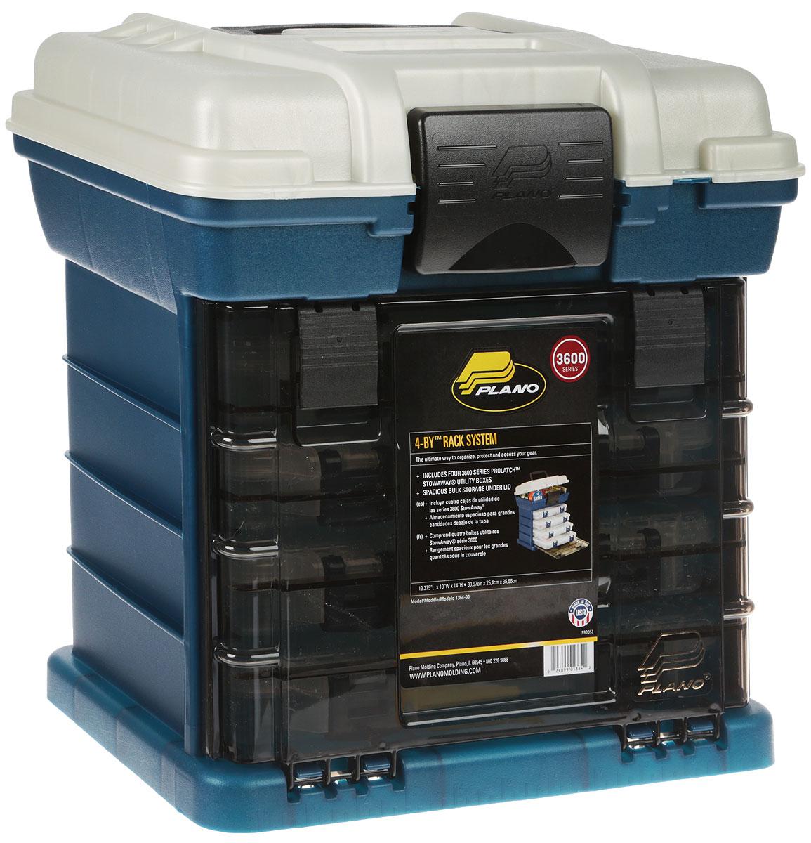 Ящик Plano 1364-00 - выполнен из высокопрочного легкого и безопасного пластика, с фурнитурой из нержавеющей латуни и предназначен для длительного хранения и транспортировки рыболовных снастей (в том числе и для силиконовых приманок). Включает в себя четыре контейнера модели Plano 2-3500-00 с защелками, с возможностью заменить на модели Plano 2-3600-00модель Plano 2- 3600-00.  Глубокая, вместительная верхняя часть. Удобен для хранения большого количества рыболовных принадлежностей. Габариты: 339х254х355