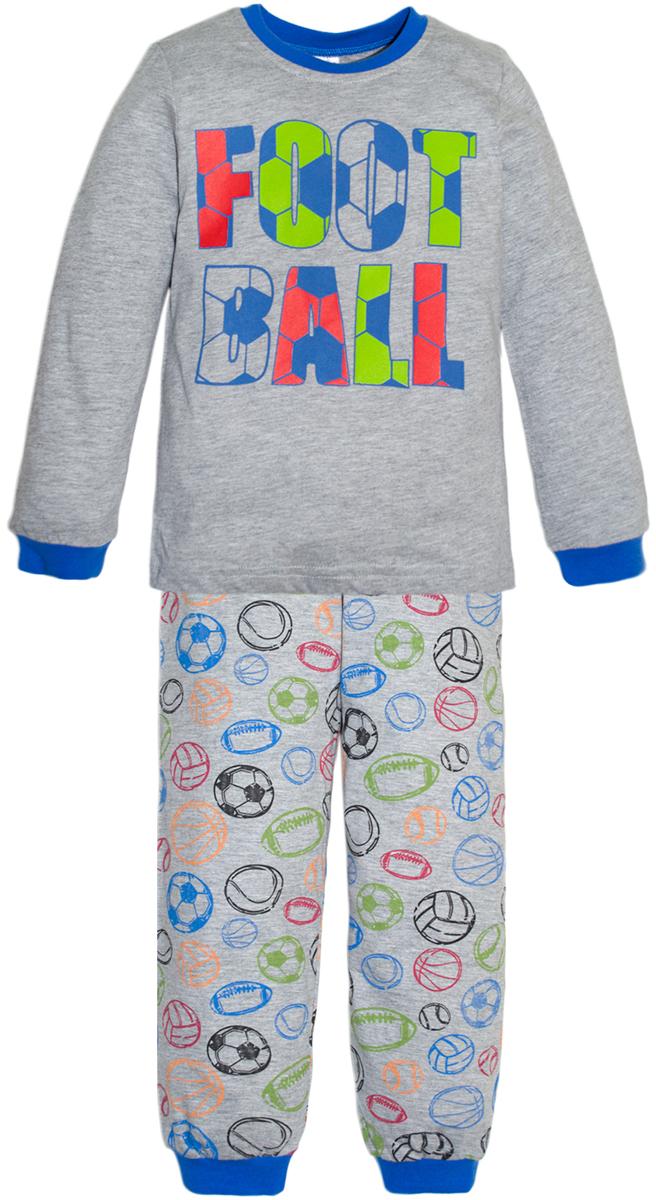 Пижама для мальчика Lets Go, цвет: светло-серый. 9224. Размер 929224Пижама для мальчика Lets Go, состоящая из футболки с длинным рукавом и брюк, выполнена из натурального хлопкового трикотажа. Футболка с длинными рукавами и круглым вырезом горловины спереди оформлена принтом. Принтованные брюки с эластичной резинкой на талии.