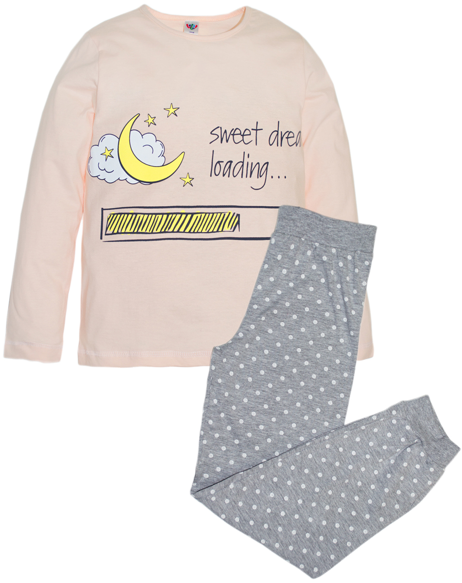 Пижама для девочек Lets Go, цвет: коралловый. 9129. Размер 1469129