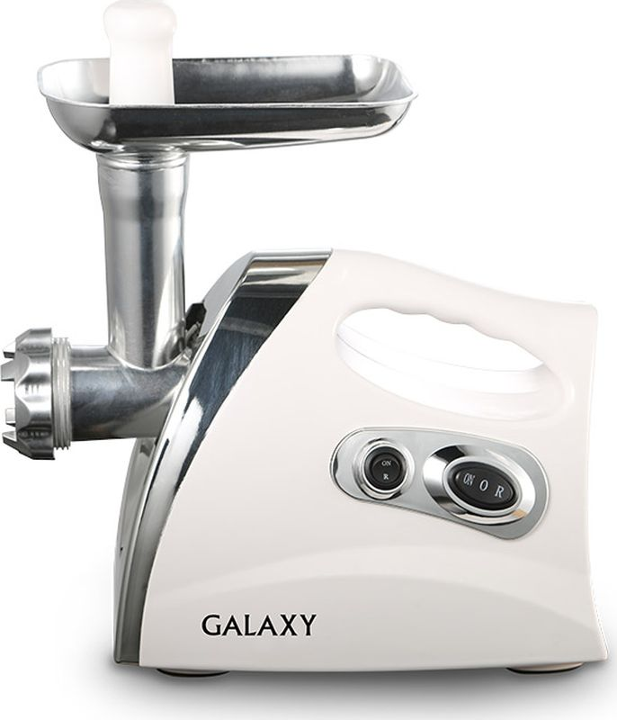 Galaxy GL 2412, White мясорубка электрическаягл2412Мясорубка GALAXY станет Вашей надежной помощницей на кухне. Она поможет разнообразить Ваш стол аппетитными мясными деликатесами! Приготовление вкусных и полезных блюд будет еще быстрее и приятнее с мясорубкой GALAXY!