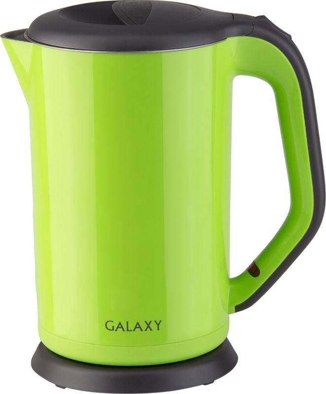 Galaxy GL 0318, Green электрический чайник4650067303291Благодаря применению инновационных технологий и экологически безопасных материалов процесс приготовления чая стал быстрым и простым.Двойная стенка из нержавеющей стали 18/10 и пищевого пластика долгое время сохраняет воду горячей.При этом внешняя поверхность чайника остается холодной, обеспечивая безопасность в процессе его использования.Galaxy заботится о вас!