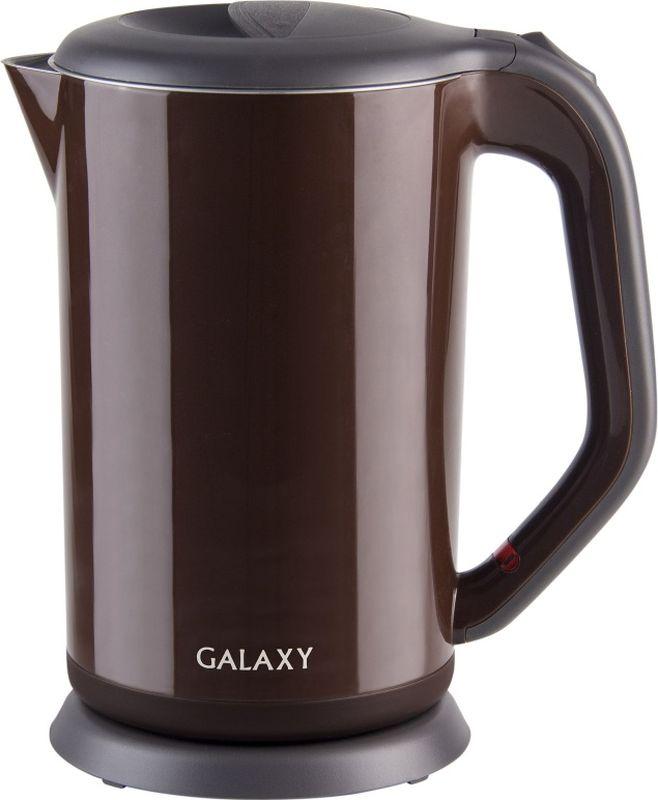Galaxy GL 0318, Brown электрический чайник4650067303307Благодаря применению инновационных технологий и экологически безопасных материалов процесс приготовления чая стал быстрым и простым.Двойная стенка из нержавеющей стали 18/10 и пищевого пластика долгое время сохраняет воду горячей.При этом внешняя поверхность чайника остается холодной, обеспечивая безопасность в процессе его использования.Galaxy заботится о вас!