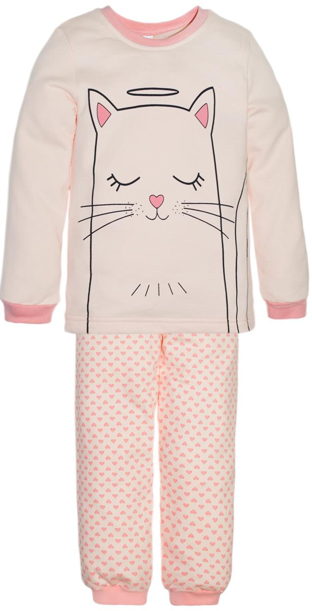 Пижама для девочек Lets Go, цвет: коралловый. 9126. Размер 110/1169126