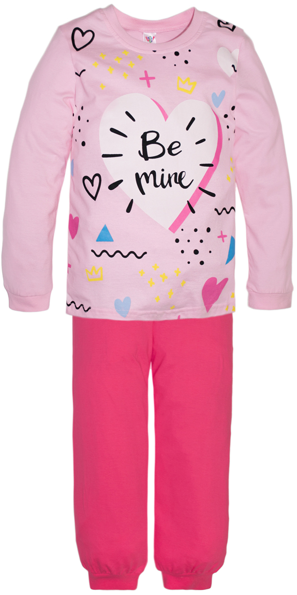 Пижама для девочек Lets Go, цвет: розовый. 9124. Размер 122/1289124