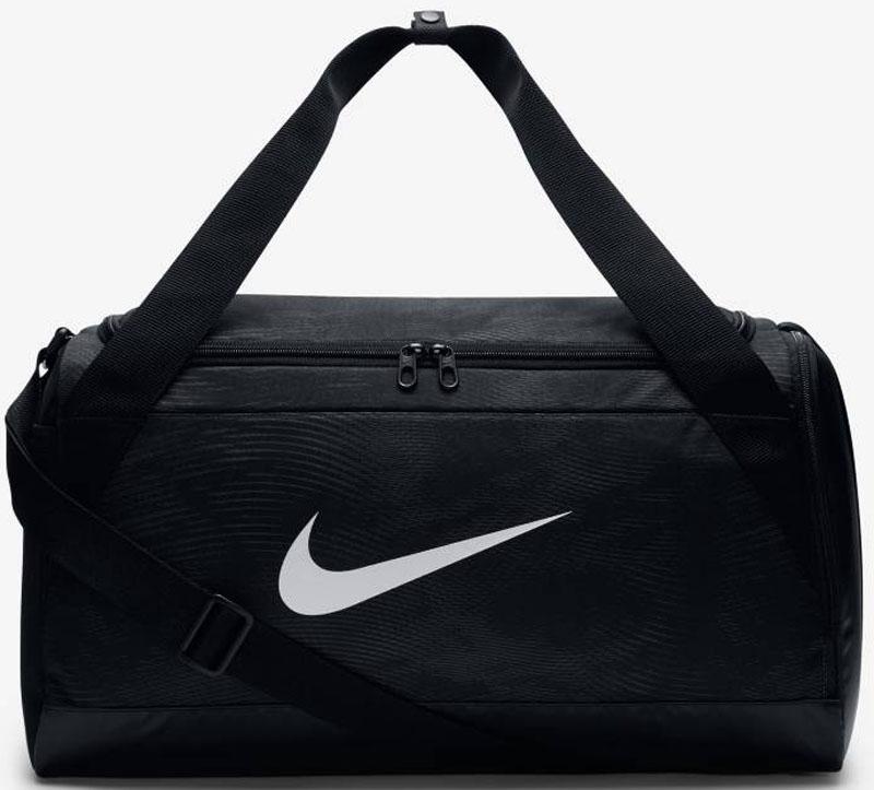 Сумка Nike Duff-Gfx, цвет: черный. BA5433-010BA5433-010Спортивная сумка предназначена для носки в спортивный зал и путешествий. Выполнена из 100% высокопрочного полиэстера. Центральное отделение и боковые карманы закрываются молнией. Сумка с прочным дном и внутренним защитным покрытием. Предусмотрена текстильная ручка с мягкой накладкой и съемный плечевой ремешок.