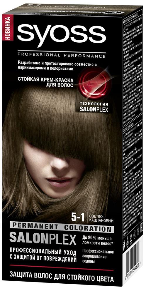 Syoss Color Краска для волос оттенок 5-1 Светло-каштановый09393115Профессиональная формула Syoss с защитой от повреждений SalonPlex обеспечивает: • МАКСИМАЛЬНУЮ СТОЙКОСТЬ И ИНТЕНСИВНОСТЬ ЦВЕТА** • УХОД ПРОТИВ ПОВРЕЖДЕНИЙ • ДО 80 % МЕНЬШЕ ЛОМКОСТИ ВОЛОС* • ПРОФЕССИОНАЛЬНОЕ ЗАКРАШИВАНИЕ СЕДИНЫ* по сравнению с волосами,