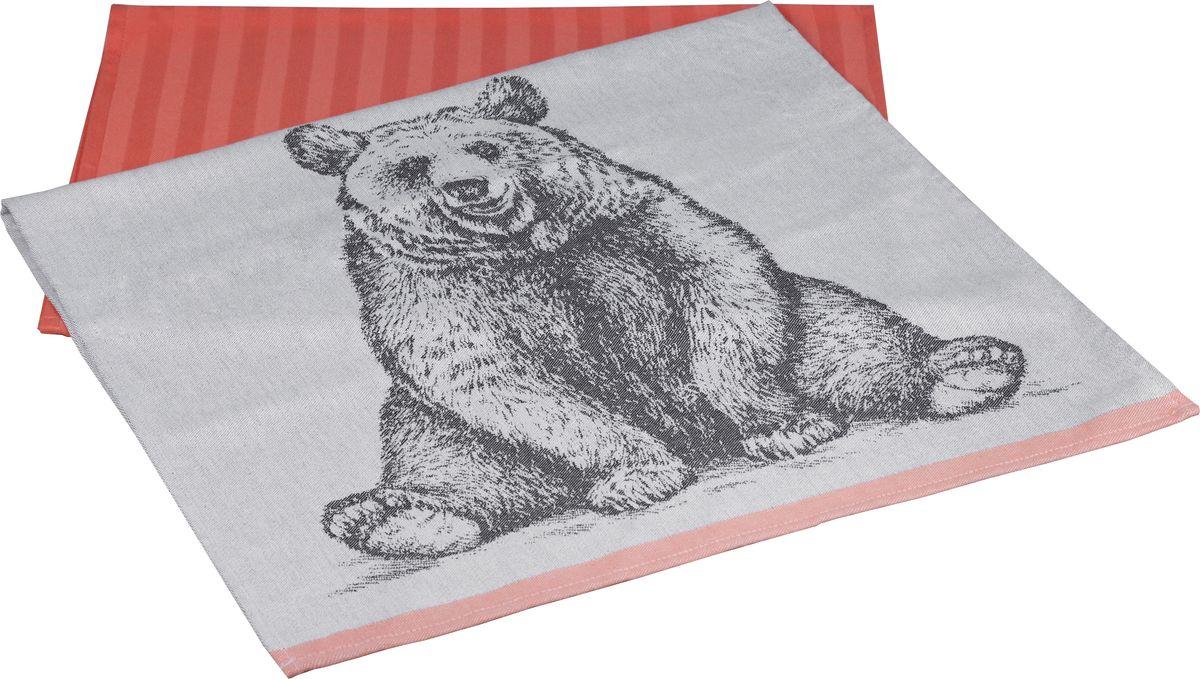 "Полотенце кухонное Hobby Home Collection ""Bear"", цвет: персиковый, 50 x 70 см, 2 шт"