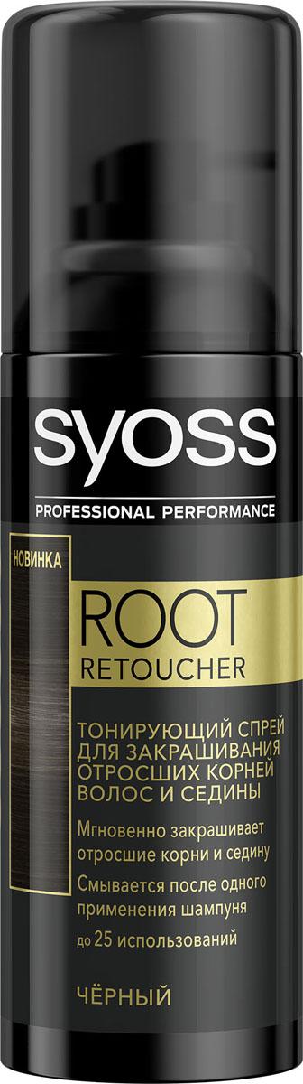 Syoss Root Retoucher Тонирующий спрей для закрашивания отросших корней и седины оттенок Черный syoss syoss спрей для закрашивания седины root retoucher для русых оттенков 120 мл