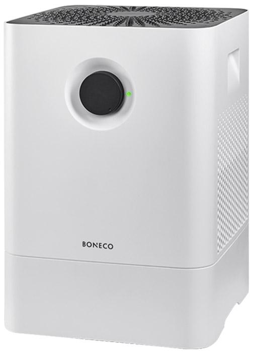 Boneco W200, White мойка воздухаW200;W200Boneco W200 - новая эра увлажнения и очищения воздуха с помощью запатентованной 3D-губки. Все самое необходимое: современная система очисткивоздуха, 2 режима работы, высокая производительность и ручное управление. Свежий воздух с помощью одной кнопки, в прямом смысле слова.Прибор идеально вписывается в интерьер: плавные, но строгие линии, идеальная текстура пластика и графический орнамент, созданный изотверстий воздухозабора на верхней крышке. W200 - передовые технологии в создании правильного домашнего микроклимата.•Высокие показатели по увлажнению и очищению благодаря новой 3D-губке •Не требует сменных фильтров и расходных материалов •Не требовательна к качеству воды •Расход воды — до 500 г/час •Ионизирующий серебряный стержень ISS •Простота управления и уход •Вертикальный залив в поддон •Можно мыть в посудомоечной машине корпус и губку •Аромаконтейнер •Автоматическое отключение при низком уровне воды •LED-индикатор •Ночной и интенсивный режим •Высококачественные компоненты и материалы Попадая в прибор, воздух проходит через 3D-губку, которая непрерывно вращается и смачивается водой. Пыль, пыльца, шерсть домашних животных удерживаются микроволокнами губки и смываются в поддон, воздух поступает в помещение очищенным и увлажненным. С помощью удобного поворотного выключателя можно выбрать наиболее подходящий режим работы — интенсивный или ночной. А световой индикатор, сменив цвет с зеленого на красный, просигнализирует о необходимости долива воды.На задней поверхности мойки встроен контейнер для аромамасел, позволяющих при необходимости наполнить воздух в комнате приятным ароматом с эффектом обеззараживания воздуха.