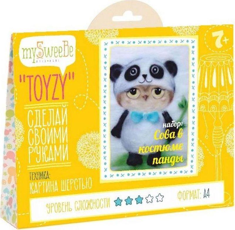 Toyzy Набор для изготовления картины из шерсти Сова в костюме панды