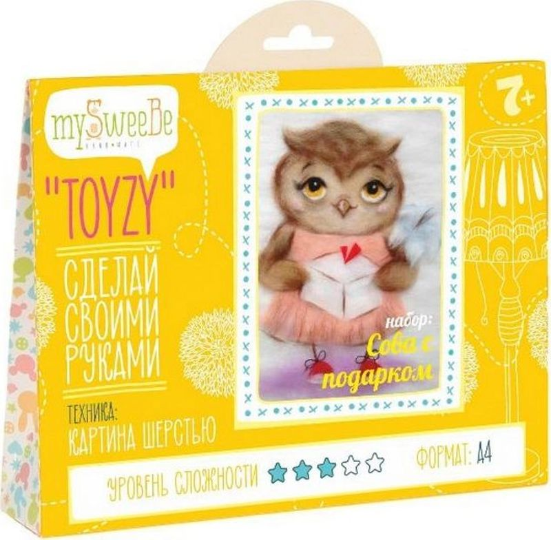 Toyzy Набор для изготовления картины из шерсти Сова с подарком