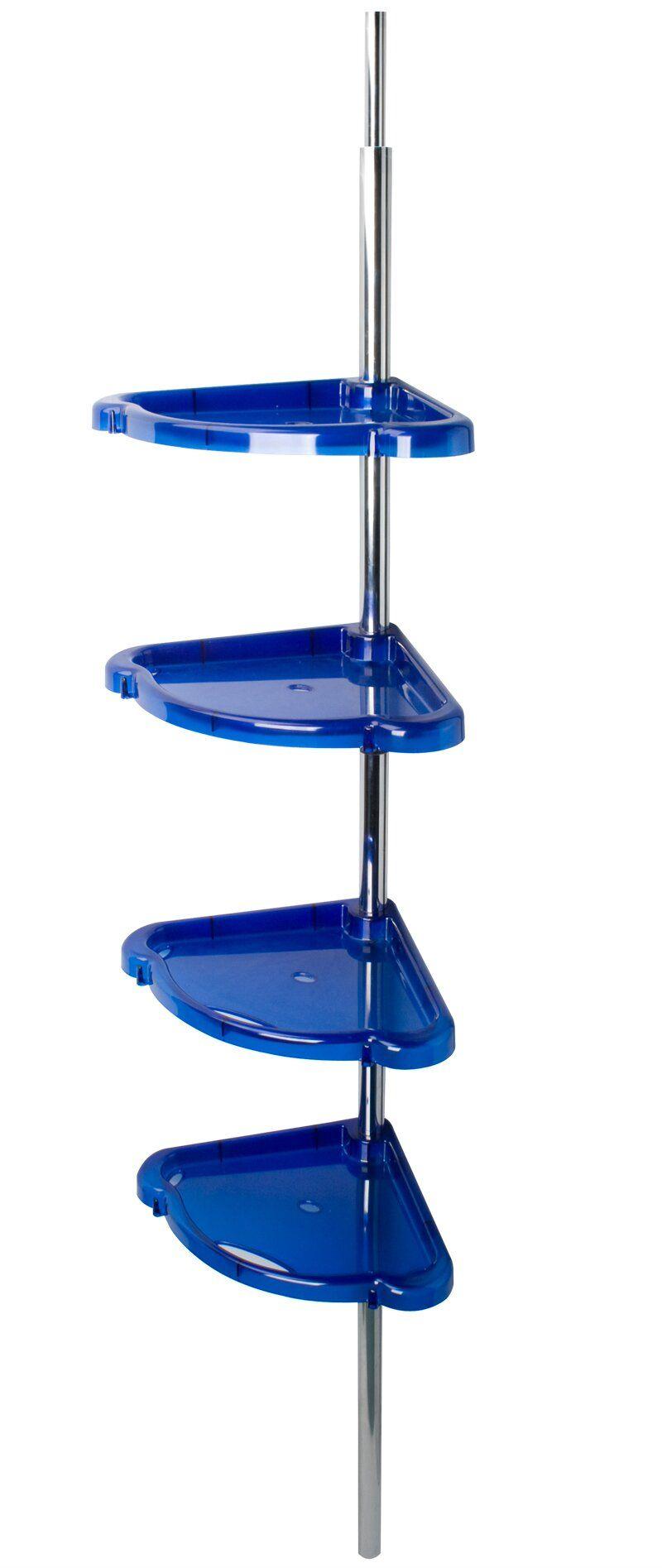 Полка для ванной комнаты Berossi Стелла, угловая, распорная, цвет: синий, 21 х 21 х 192 смАС 15410000Полка угловая распорная Стелла (синий полупрозрачный), 210х210, высота 192 ± 10 см., четыре вместительные пластиковые полки с крючками размещаются на хромированной опоре, возможно вращать полки вокруг опоры и регулировать по высоте. При установки изделия не нужно сверлить, опора прочно встает в распор между бортиком ванны и потолком.