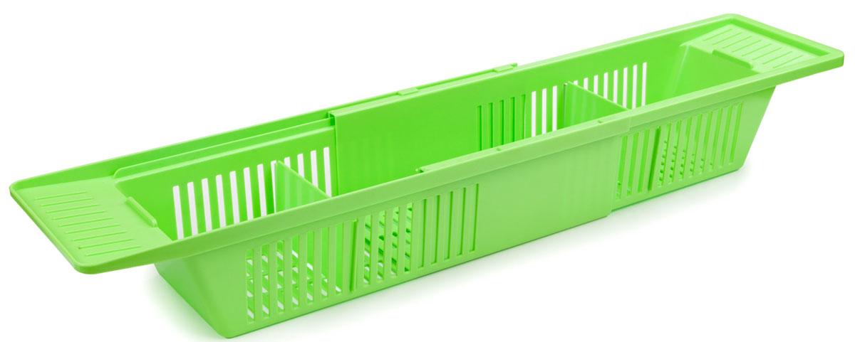 Полка на ванну Berossi Toys, цвет: салатный, 79,6 х 15, 1 х 9, 9 смАС 20738000Полка на ванну Toys (салатный), пластик, 796х151х99 мм. Раздвижная конструкция полки позволяет использовать ее на ванных различной ширины. Удобно использовать под детские игрушки, под различные принадлежности для стирки. В комплекте две перегородки, которыми удобно разделить полку на три отсека.