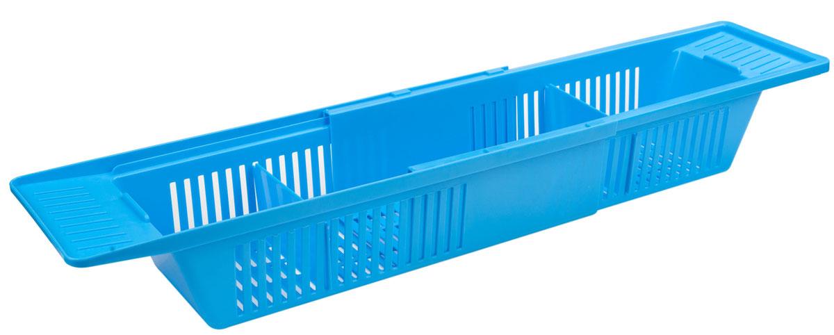 Полка на ванну Berossi Toys, цвет: голубая лагуна, 79,6 х 15, 1 х 9, 9 смАС 20747000Полка на ванну Berossi Toys выполнена из пластика. Раздвижная конструкция полки позволяет использовать ее на ванных различной ширины. Удобно использовать под детские игрушки, под различные принадлежности для стирки. В комплекте две перегородки, которыми удобно разделить полку на три отсека.