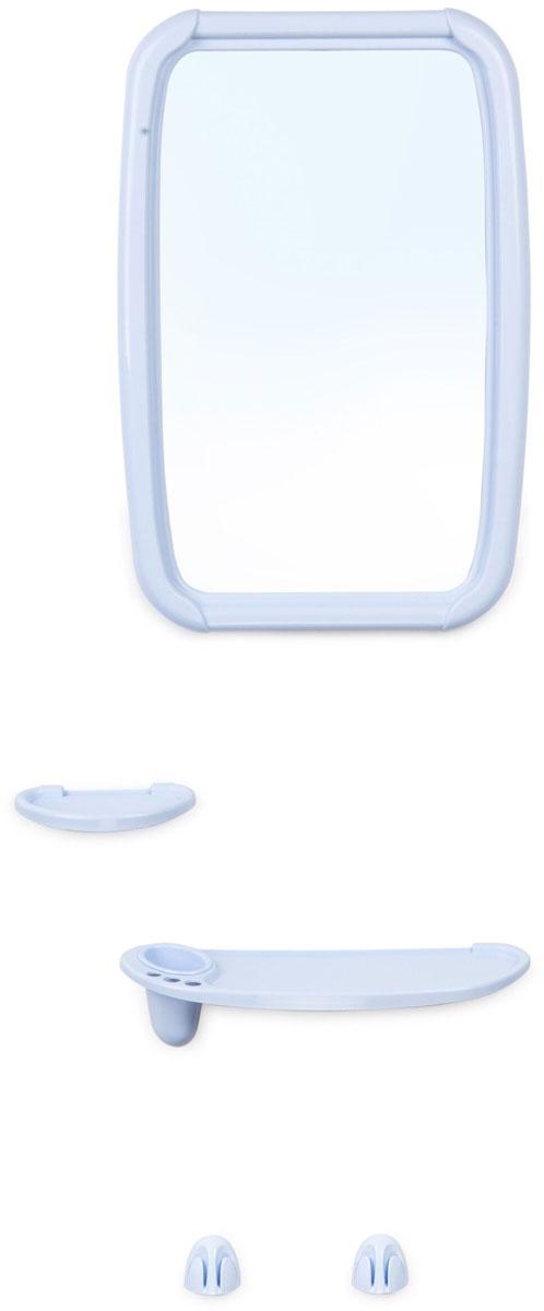 Зеркало для ванной комнаты Berossi Optima, с аксессуарами, цвет: светло-голубой, 6 предметовНВ 06108000Набор Optima (светло-голубой). В комплекте зеркало 346 х 515 мм, полка под зеркало с тремя отверстиями под зубные щетки и отверстием под стакан, стакан, мыльница, два усиленных крючка под полотенца. Крепеж зеркала и аксессуаров в комплекте.