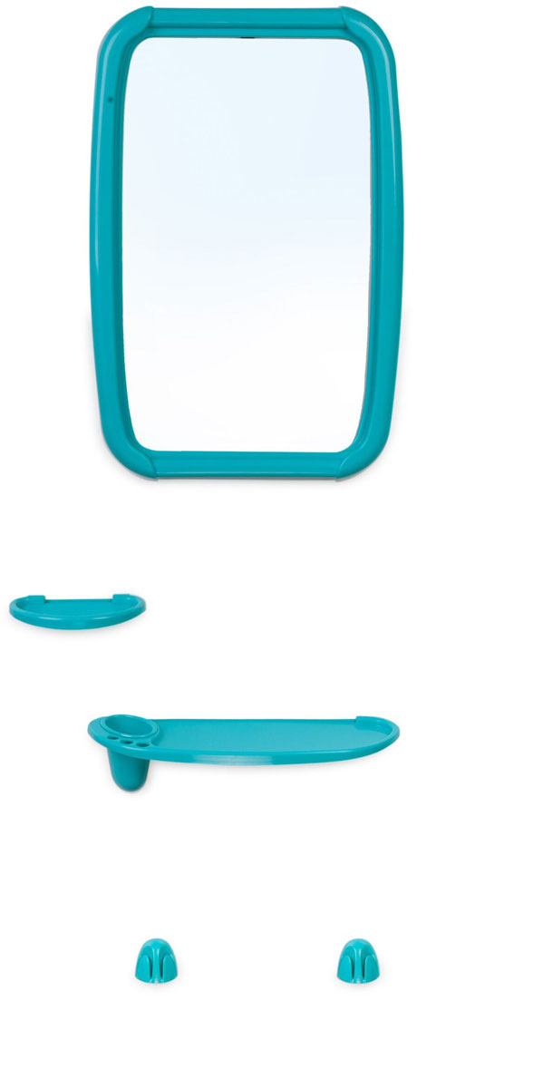 Зеркало для ванной комнаты Berossi Optima, с аксессуарами, цвет: бирюза, 6 предметовНВ 06137000Набор для ванной комнаты Berossi Optima, состоящий из зеркала, полки под зеркало с тремяотверстиями под зубные щетки и отверстием под стакан, стакана, мыльницы и двух усиленныхкрючков под полотенца, представляет собой идеальный выбор для оснащения ванной комнаты.Изделия изготовлены из высококачественного пластика и стекла. Все предметы разработаны ведином стиле и сочетают в себе универсальный дизайн, изысканные технологии изготовления ипервоклассное качество. В комплект входит набор креплений для зеркала и аксессуаров. Размер зеркала: 34,6 х 51,5 см.