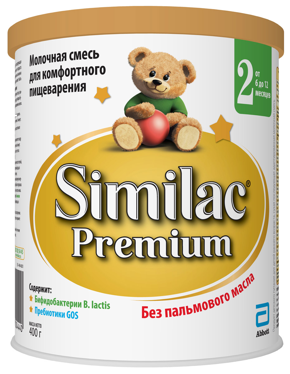 Similac Премиум 2 смесь молочная с 6 месяцев, 400 г similac смесь педиашур малоежка similac со вкусом банана 200 мл