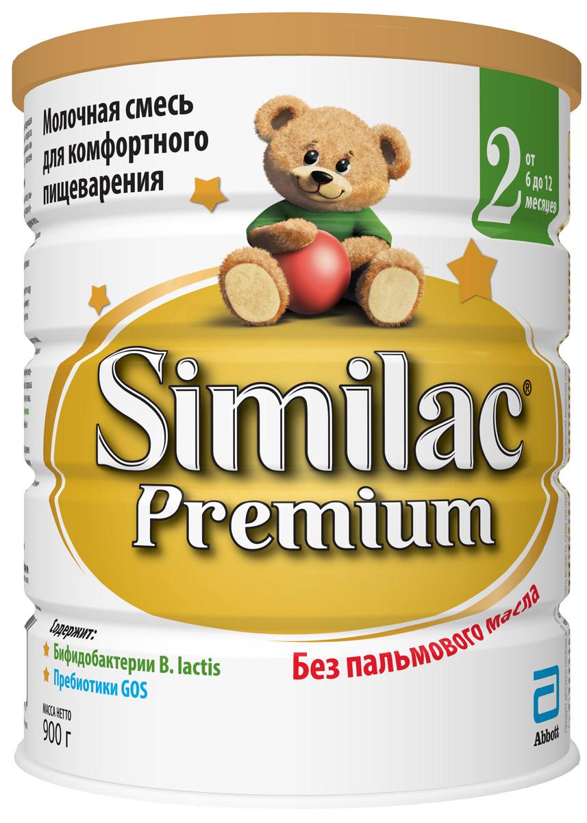 Similac Премиум 2 смесь молочная с 6 месяцев, 900 г similac смесь педиашур малоежка similac со вкусом банана 200 мл