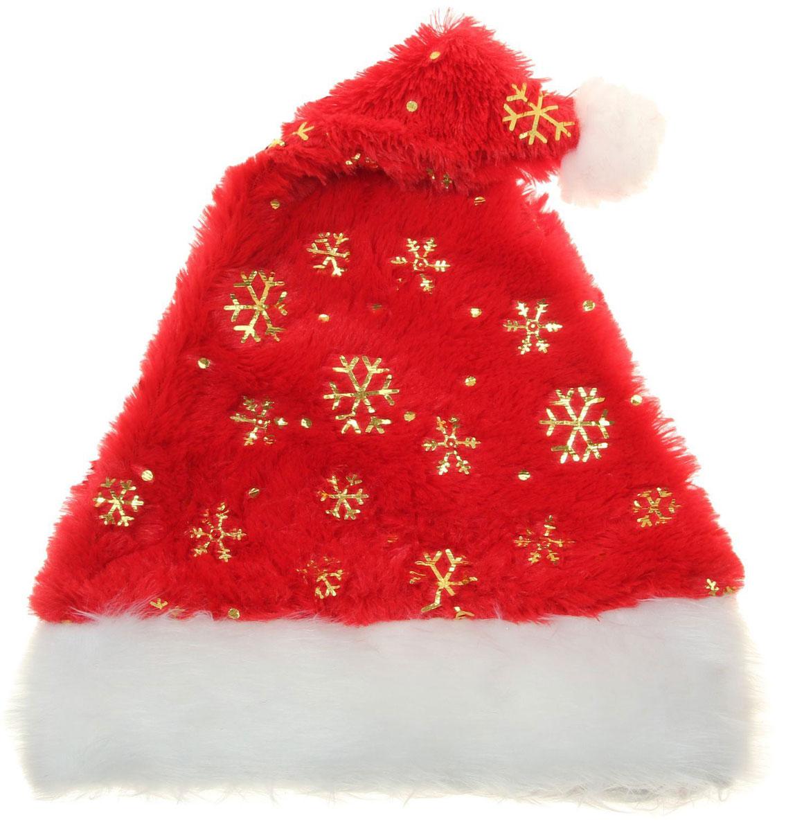 Колпак новогодний Ворс с золотыми снежинками, 28 х 40 см. 13906521390652Поддайтесь новогоднему веселью на полную катушку! Забавный колпак в секунду создаст праздничное настроение, будь то поздравление ребятишек или вечеринка с друзьями. Размер изделия универсальный: аксессуар подойдет как для ребенка, так и для взрослого. А мягкий текстиль позволит носить колпак с комфортом на протяжении всей новогодней ночи.