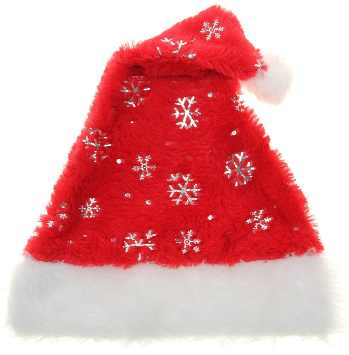 Колпак новогодний Ворс с серебряными снежинками, 28 см х 40 см. 13906511390651Поддайтесь новогоднему веселью на полную катушку! Забавный колпак в секундусоздаст праздничное настроение, будь то поздравление ребятишек иливечеринка с друзьями. Размер изделия универсальный: аксессуар подойдет какдля ребенка, так и для взрослого. А мягкий текстиль позволит носить колпак скомфортом на протяжении всей новогодней ночи.