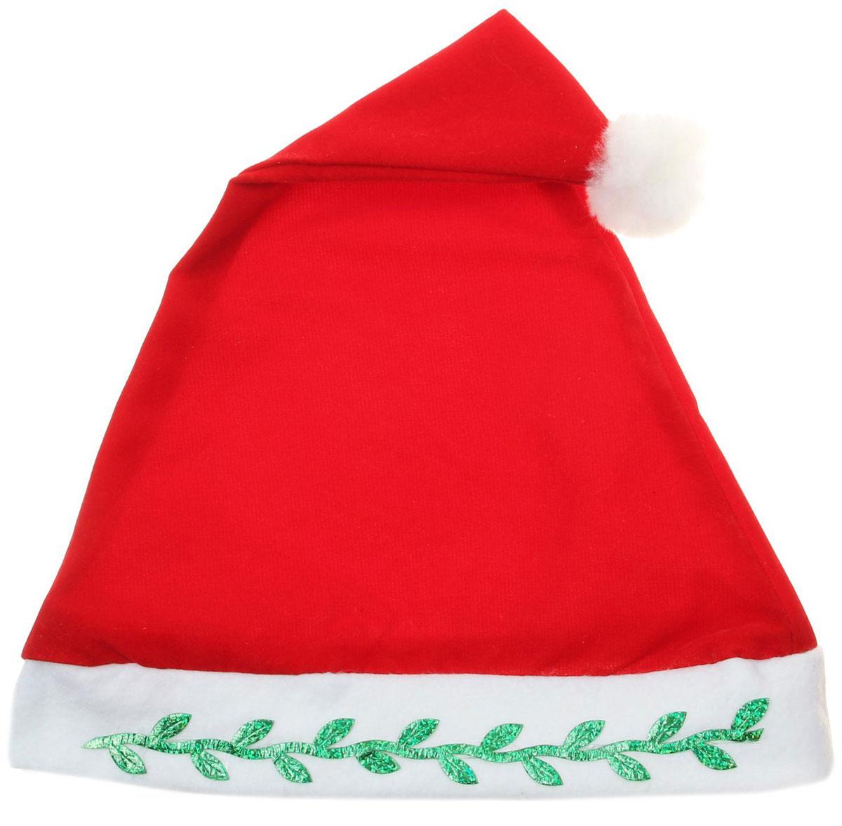 Колпак новогодний Классический с веточкой, 28 х 40 см. 13906461390646Поддайтесь новогоднему веселью на полную катушку! Забавный колпак в секунду создаст праздничное настроение, будь то поздравление ребятишек или вечеринка с друзьями. Размер изделия универсальный: аксессуар подойдет как для ребенка, так и для взрослого. А мягкий текстиль позволит носить колпак с комфортом на протяжении всей новогодней ночи.