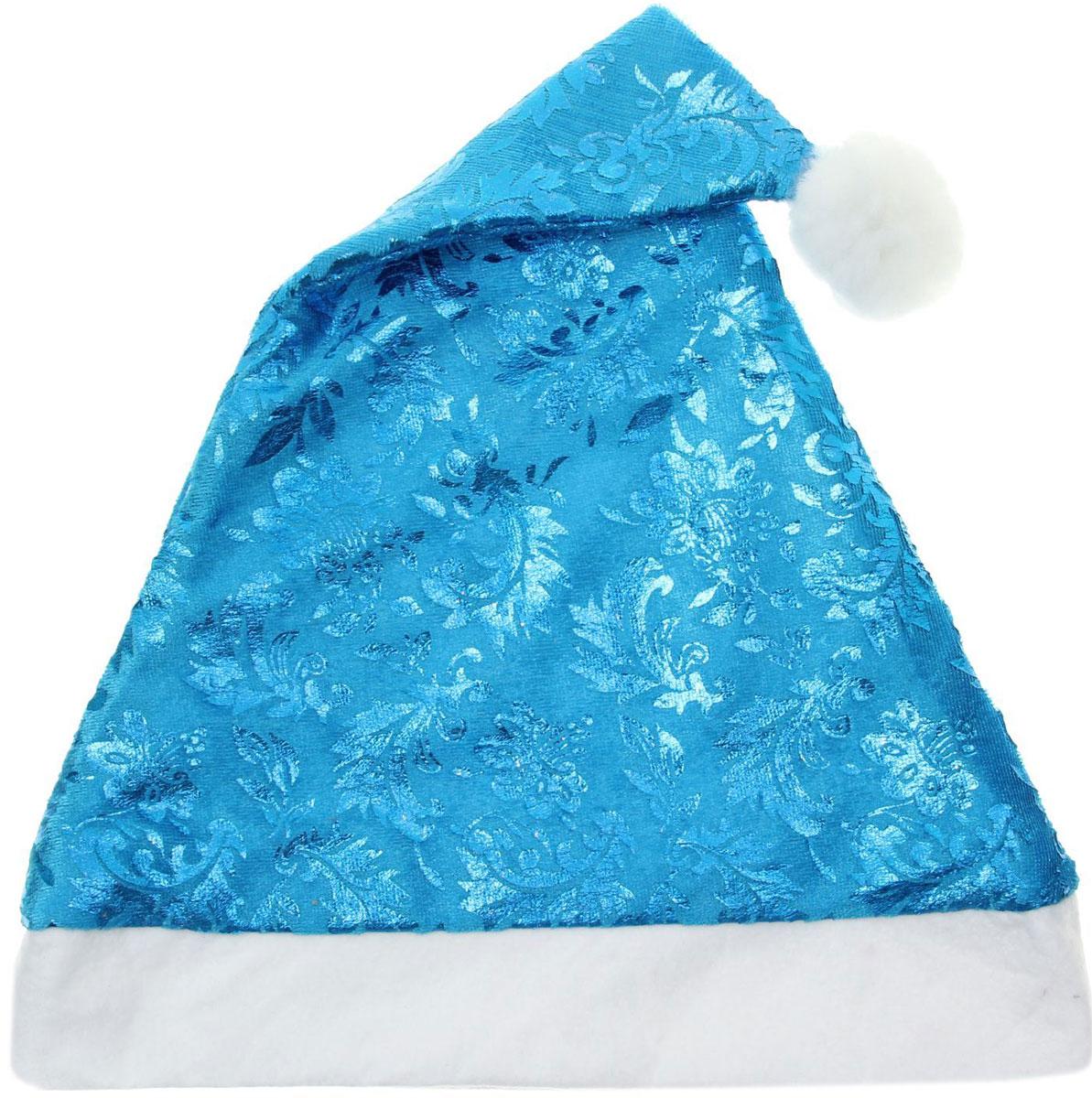 Колпак новогодний Зимние узоры, цвет: синий, 28 х 40 см. 13906431390643Поддайтесь новогоднему веселью на полную катушку! Забавный колпак в секунду создаст праздничное настроение, будь то поздравление ребятишек или вечеринка с друзьями. Размер изделия универсальный: аксессуар подойдет как для ребенка, так и для взрослого. А мягкий текстиль позволит носить колпак с комфортом на протяжении всей новогодней ночи.