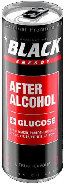 Black Energy After Alcohol энергетический напиток, 0,25 млTNEPAFA999Black After Alcohol - революционный новый продукт,который помогает вам противостоять ужасным симптомам похмелья. Газированный освежающий напиток с освежающим цитрусовым вкусом и уникальным рецептом: кофеин - дает импульс мощности и энергии; глюкоза - ускоряет разложение алкоголя; витамин С - восстанавливает организм, снижает негативное воздействие после употребления алкоголя; витамины группы B - поддерживает здоровье и баланс нервной системы.Black After Alcohol рекомендуется после употребления алкоголя:уменьшает вредные эффекты похмелья;помогает избавиться от вредных продуктов обмена веществ и токсинов после употребления алкогольного напитка.