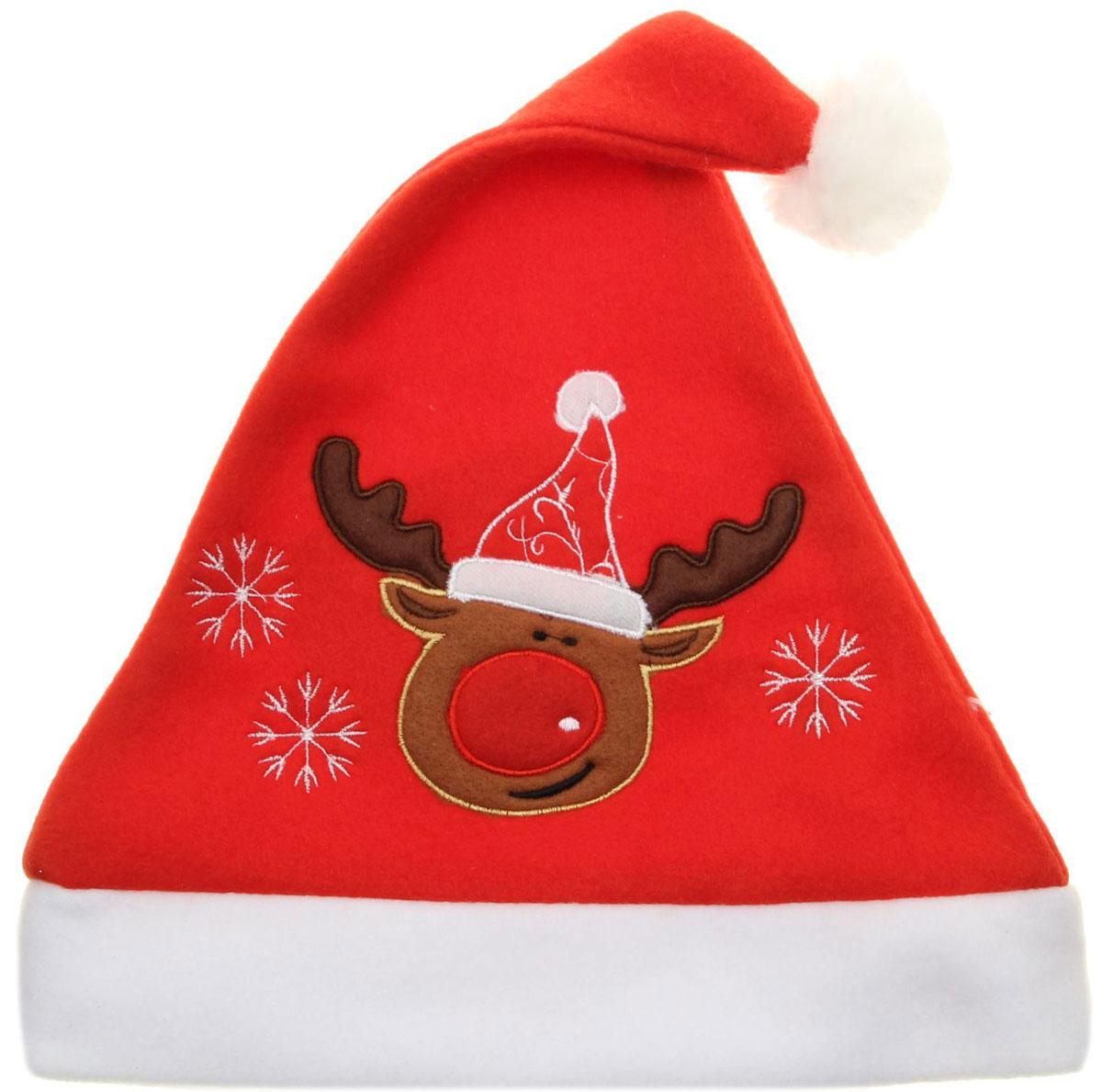 Колпак новогодний Олень в колпаке, 29 х 41 см. 13906391390639Поддайтесь новогоднему веселью на полную катушку! Забавный колпак в секунду создаст праздничное настроение, будь то поздравление ребятишек или вечеринка с друзьями. Размер изделия универсальный: аксессуар подойдет как для ребенка, так и для взрослого. А мягкий текстиль позволит носить колпак с комфортом на протяжении всей новогодней ночи.