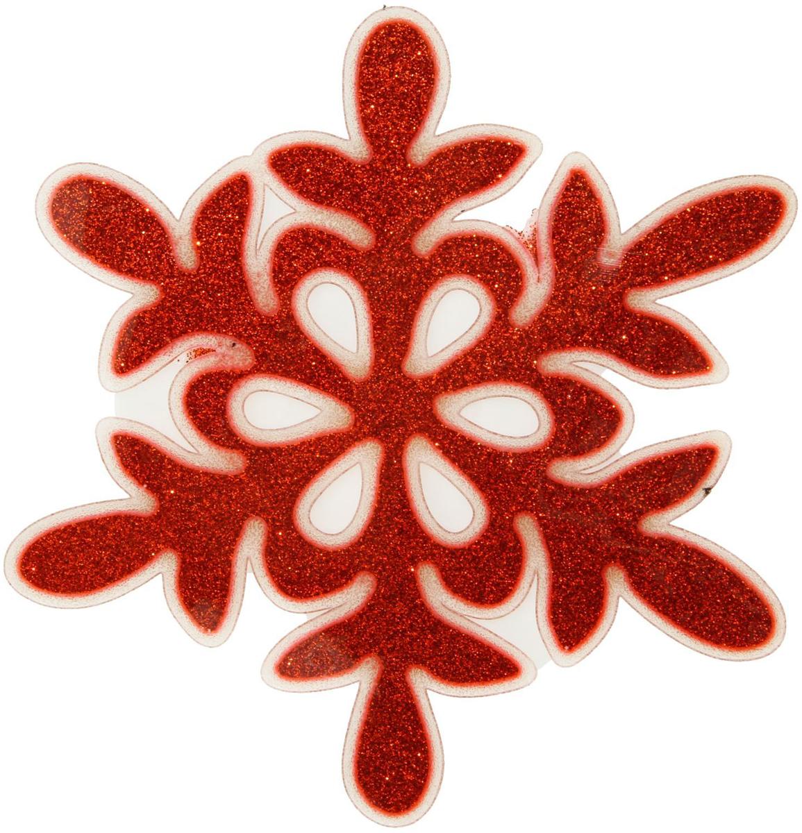 Наклейка на стекло Красная блестящая снежинка1399713Зимой не только мороз украшает стекла узорами. Сделайте интерьер еще торжественней: преобразите его с помощью специальных наклеек! Декор из силикона не содержит клей и не оставляет следов. Пластичная фигурка сама прилипает к гладкой поверхности, а в конце зимних праздников ее легко снять и отложить до следующего года. Прикрепите на стекло или зеркало одно украшение или создайте целую композицию. Новогодние наклейки приблизят праздничное настроение!