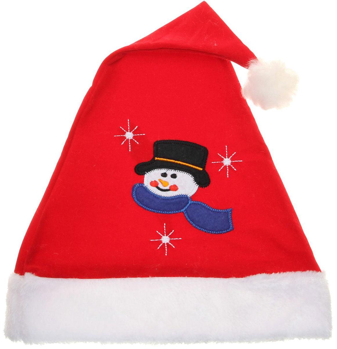 Колпак новогодний Со снеговиком, 28 х 41 см. 13906361390636Поддайтесь новогоднему веселью на полную катушку! Забавный колпак в секунду создаст праздничное настроение, будь то поздравление ребятишек или вечеринка с друзьями. Размер изделия универсальный: аксессуар подойдет как для ребенка, так и для взрослого. А мягкий текстиль позволит носить колпак с комфортом на протяжении всей новогодней ночи.