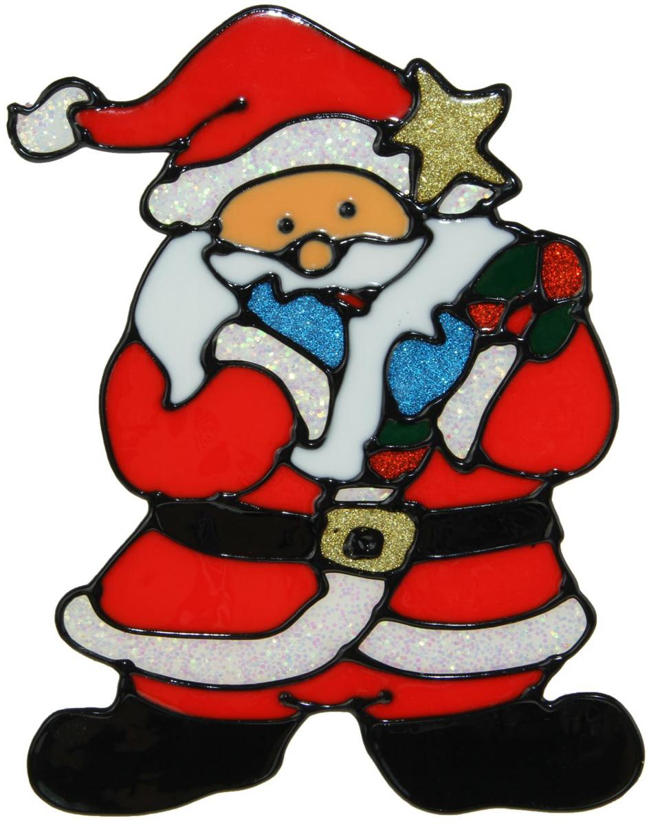 Украшение новогоднее оконное NoName Дед Мороз со звездой, 14 х 18,5 см1399726Новогоднее оконное украшение Дед Мороз со звездой поможет украсить дом к предстоящим праздникам. Яркая наклейка крепится к гладкой поверхности стекла посредством статического эффекта. С помощью такого украшения вы сможете оживить интерьер по своему вкусу.Новогодние украшения всегда несут в себе волшебство и красоту праздника. Создайте в своем доме атмосферу тепла, веселья и радости, украшая его всей семьей.