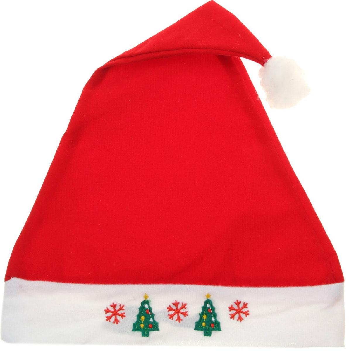 Колпак новогодний Со снежинками и елками, 28 х 41 см. 13906341390634Поддайтесь новогоднему веселью на полную катушку! Забавный колпак в секунду создаст праздничное настроение, будь то поздравление ребятишек или вечеринка с друзьями. Размер изделия универсальный: аксессуар подойдет как для ребенка, так и для взрослого. А мягкий текстиль позволит носить колпак с комфортом на протяжении всей новогодней ночи.