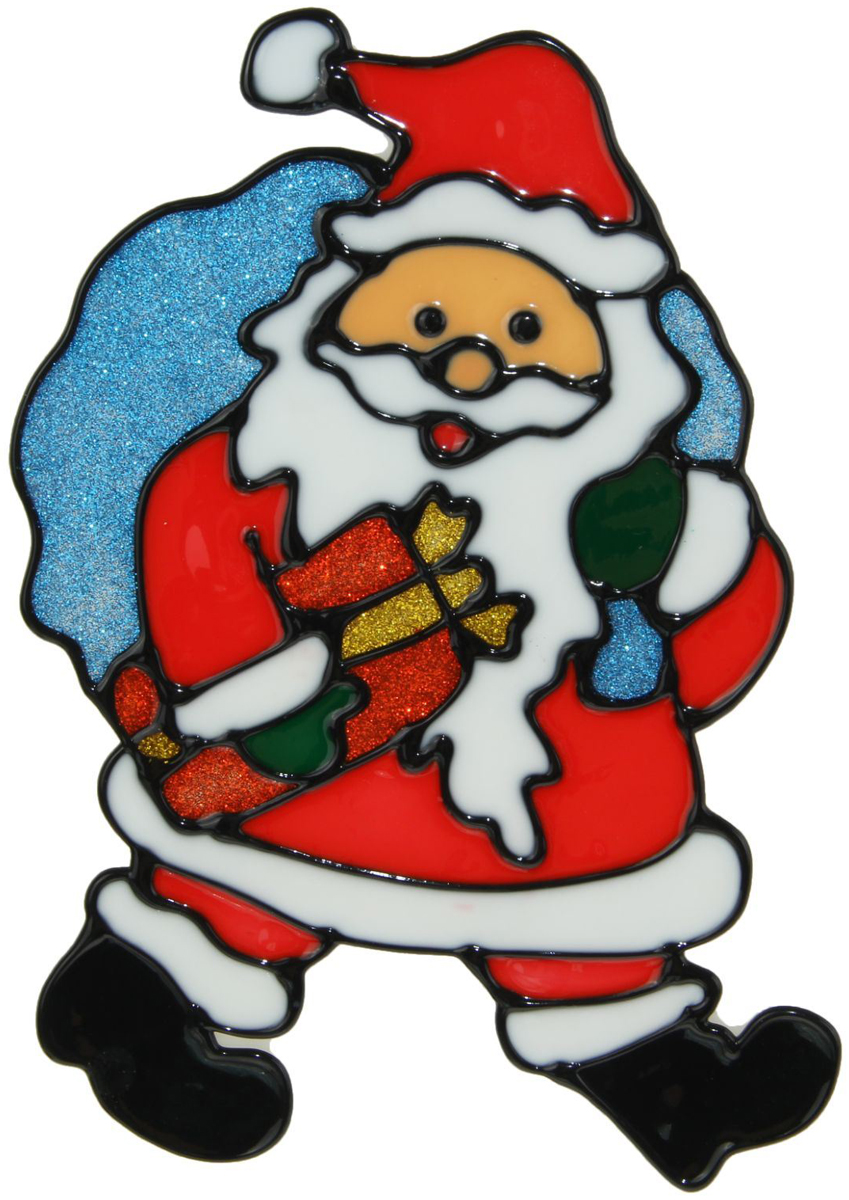 Наклейка на стекло Дед Мороз с синим мешком и подарком1399725Зимой не только мороз украшает стекла узорами. Сделайте интерьер еще торжественней: преобразите его с помощью специальных наклеек! Декор из силикона не содержит клей и не оставляет следов. Пластичная фигурка сама прилипает к гладкой поверхности, а в конце зимних праздников ее легко снять и отложить до следующего года. Прикрепите на стекло или зеркало одно украшение или создайте целую композицию. Новогодние наклейки приблизят праздничное настроение!