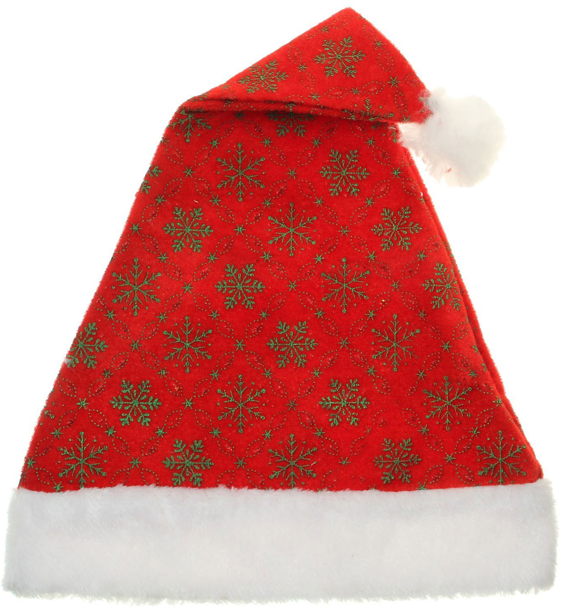 Колпак новогодний Зеленые снежинки в узорном ромбе, 30 х 42 см. 13906311390631Поддайтесь новогоднему веселью на полную катушку! Забавный колпак в секунду создаст праздничное настроение, будь то поздравление ребятишек или вечеринка с друзьями. Размер изделия универсальный: аксессуар подойдет как для ребенка, так и для взрослого. А мягкий текстиль позволит носить колпак с комфортом на протяжении всей новогодней ночи.