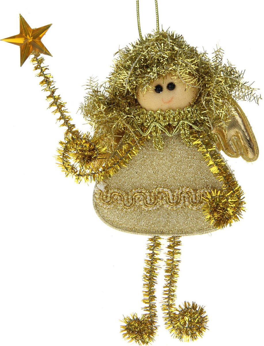 Новогоднее подвесное украшение Блеск. Фея, золотая звездочка1381201Новогоднее украшение ручной работы отлично подойдет для декорации вашего дома и новогодней ели. С помощью специальной петельки украшение можно повесить в любом понравившемся вам месте. Но, конечно, удачнее всего оно будет смотреться на праздничной елке.Елочная игрушка - символ Нового года. Она несет в себе волшебство и красоту праздника. Такое украшение создаст в вашем доме атмосферу праздника, веселья и радости.