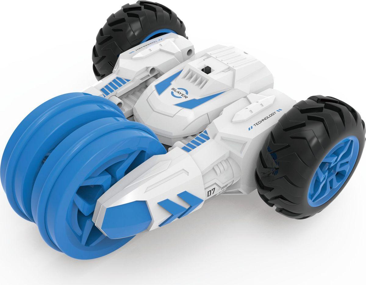 1TOY Машина-перевертыш на радиоуправлении Драйв цвет белый голубой plastic toy машина на радиоуправлении races цвет красный