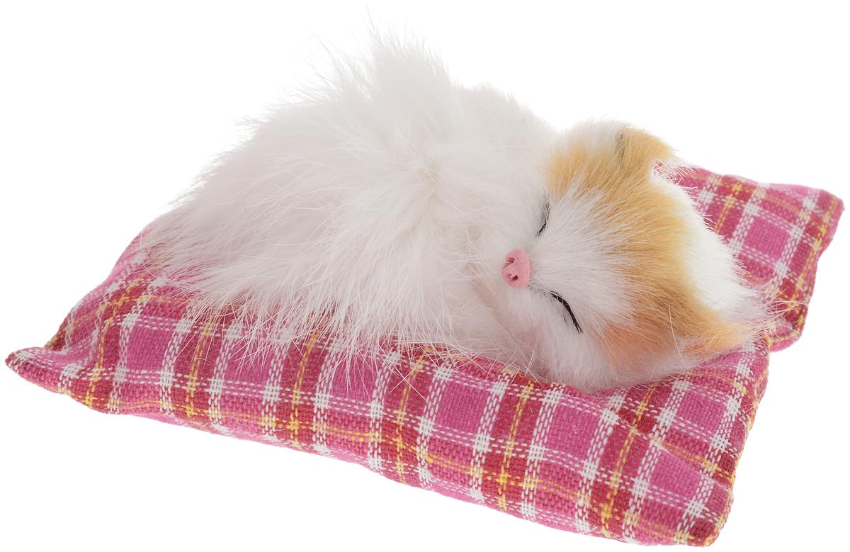 Vebtoy Фигурка Лежащий котенок на коврике цвет белый С408