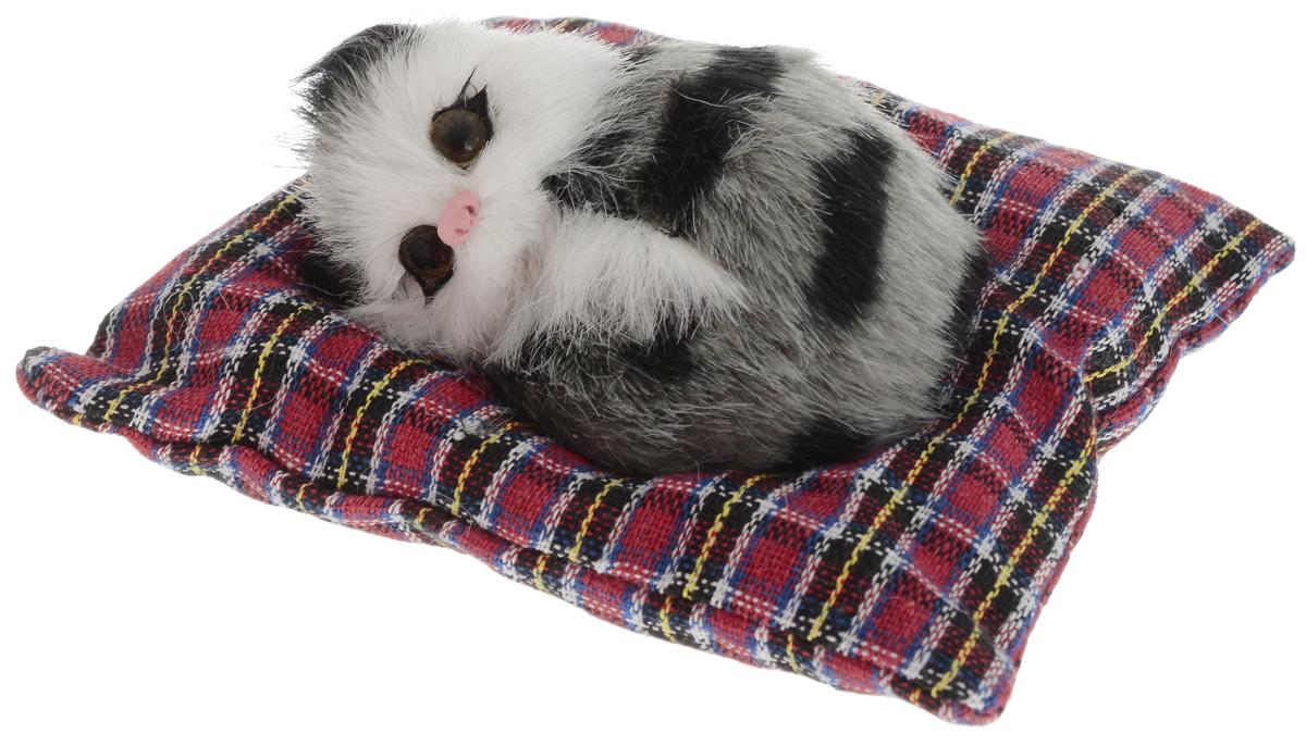 Vebtoy Фигурка Лежащий котенок на коврике цвет серый С400