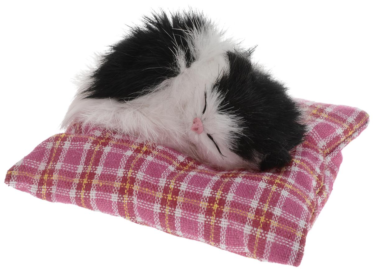 Vebtoy Фигурка Лежащий котенок на коврике цвет белый черный С410