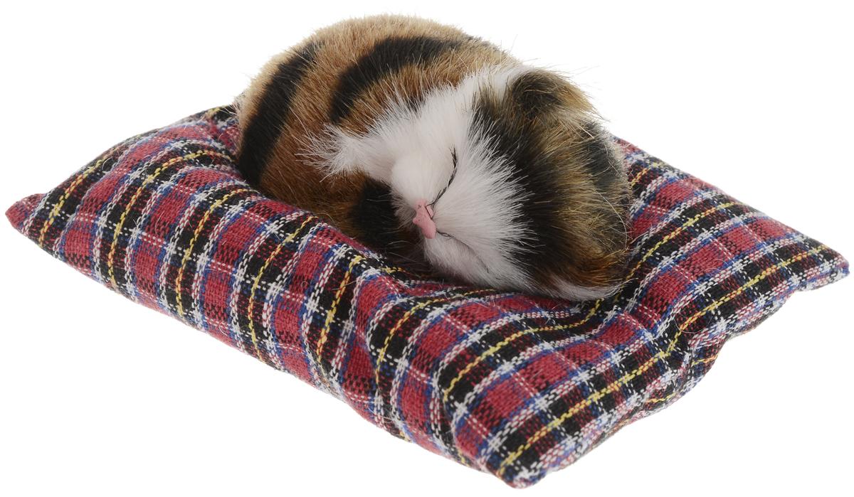 Vebtoy Фигурка Лежащий котенок на коврике цвет коричневый С401